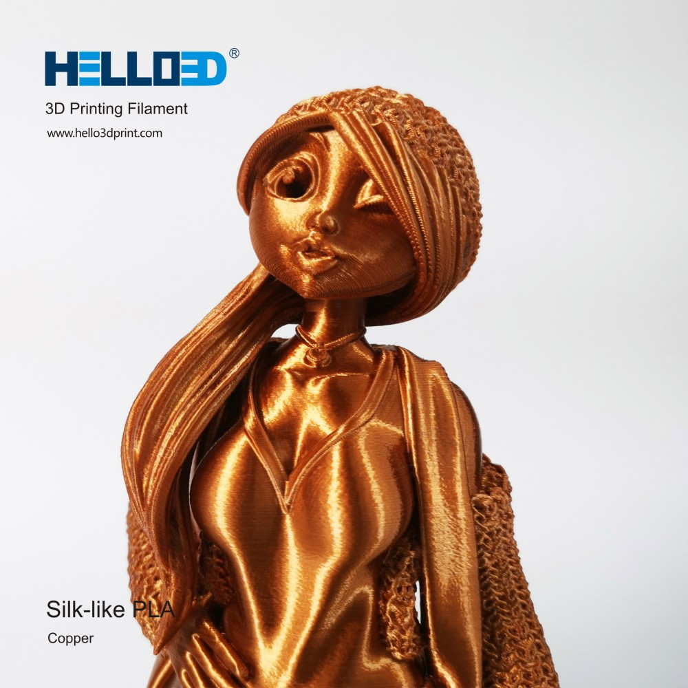 فیلامنت Silk-PLA برند HELLO 3D رنگ مس 1.75mm
