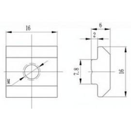 مهره T مربعی شماره M4 مناسب برای پروفیل آلومینیومی سری 30 و 40